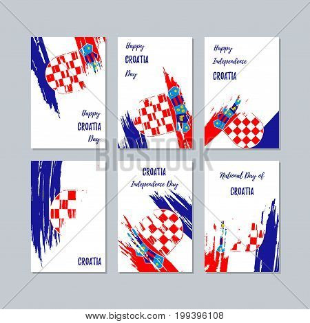 Croatia Patriotic Cards For National Day. Expressive Brush Stroke In National Flag Colors On White C