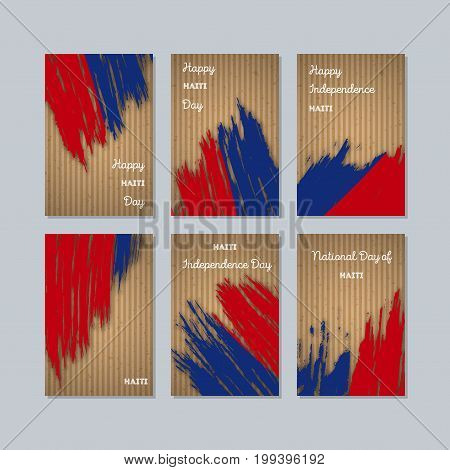 Haiti Patriotic Cards For National Day. Expressive Brush Stroke In National Flag Colors On Kraft Pap