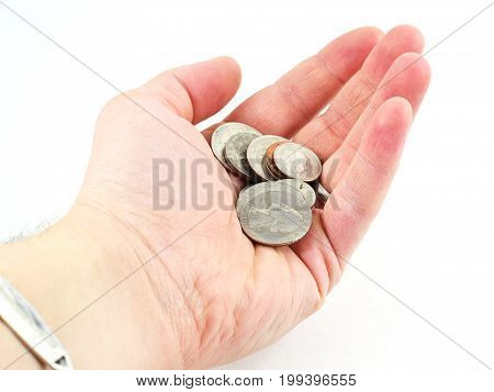 Hand Holding American Coin Isolated