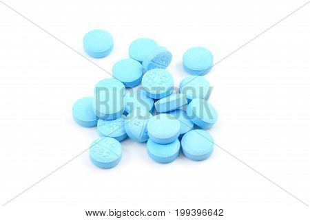 Pile Of Light Blue Pills