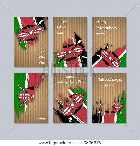 Kenya Patriotic Cards For National Day. Expressive Brush Stroke In National Flag Colors On Kraft Pap