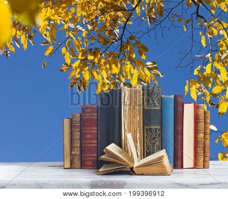 set of old books with open one on white wooden desktop, fall leaves background, back to school concept