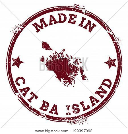 Cat Ba Island Seal. Vintage Island Map Sticker. Grunge Rubber Stamp With Made In Text And Map Outlin