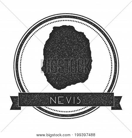 Nevis Map Stamp. Retro Distressed Insignia. Hipster Round Badge With Text Banner. Island Vector Illu