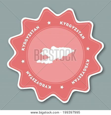 Kyrgyzstan Map Sticker In Trendy Colors. Star Shaped Travel Sticker With Country Name And Map. Can B