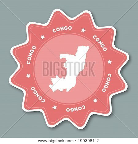 Congo Map Sticker In Trendy Colors. Star Shaped Travel Sticker With Country Name And Map. Can Be Use
