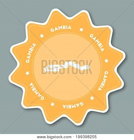 Gambia Map Sticker In Trendy Colors. Star Shaped Travel Sticker With Country Name And Map. Can Be Us
