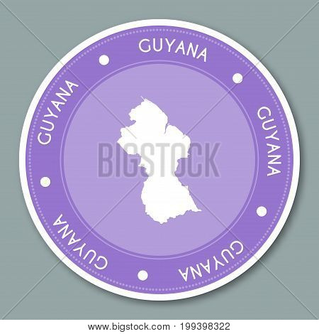 Guyana Label Flat Sticker Design. Patriotic Country Map Round Lable. Country Sticker Vector Illustra