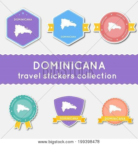 Dominican Republic Travel Stickers Collection. Big Set Of Stickers With Country Map And Name. Flat M