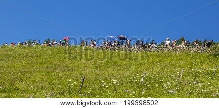 Col de PeyresourdeFrance- July 23 2014: Cycling fans are waiting for the peloton on a green on the road to Col de Peyresourde in Pyrenees Mountains during the stage 17 of Le Tour de France on 23 July 2014.