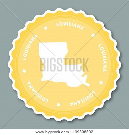 Louisiana Sticker Flat Design. Round Flat Style Badges Of Trendy Colors With The State Map And Name.