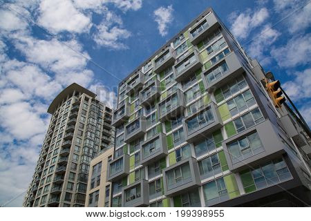 Low angle shot modern architecture new building Vancouver Canada
