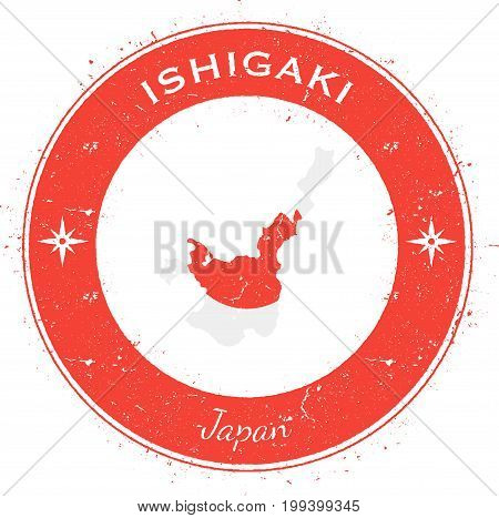 Ishigaki Circular Patriotic Badge. Grunge Rubber Stamp With Island Flag, Map And Name Written Along