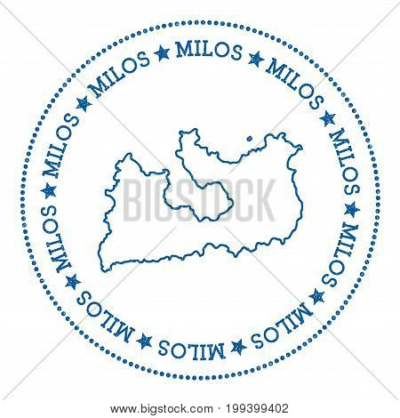Milos Map Sticker. Hipster And Retro Style Badge. Minimalistic Insignia With Round Dots Border. Isla