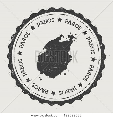 Paros Sticker. Hipster Round Rubber Stamp With Island Map. Vintage Passport Sign With Circular Text