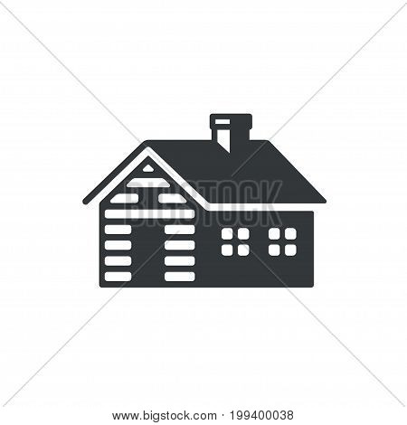 Log cabin simple icon or logo. Vintage wooden cottage vector illustration.