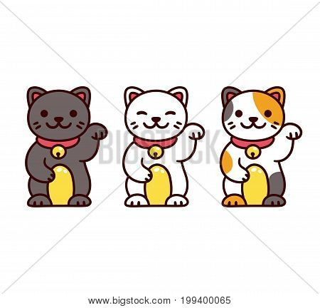 Cute cartoon Maneki Neko Japanese lucky cats. Black white and calico Feng Shui kitty vector illustration set.