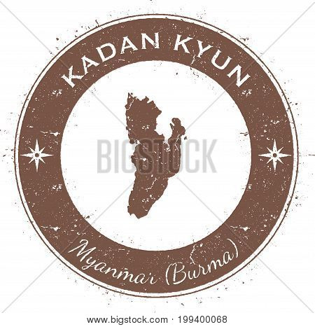 Kadan Kyun Circular Patriotic Badge. Grunge Rubber Stamp With Island Flag, Map And Name Written Alon