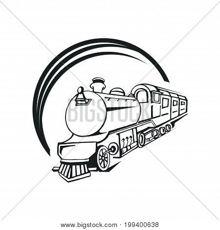 Hand drawn textured vintage label retro badge with steam train vector illustration and