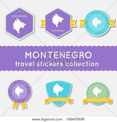 Montenegro Travel Stickers Collection. Big Set Of Stickers With Country Map And Name. Flat Material