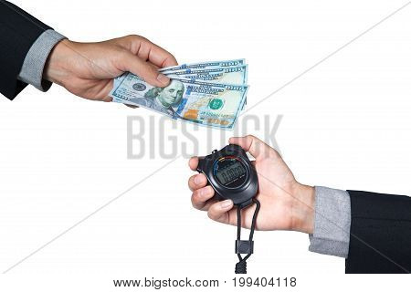 100 dollar banknote on hand of businessman and stopwatch on hand isolated with white background.