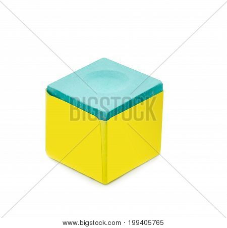 Snooker chalk box isolated on white background