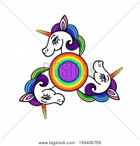 Spinner with cute unicorn head. Isolated on white background. Vector.