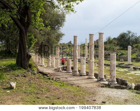 close up ruins from archaelogical site in Alanya