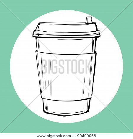 Cup of hot drink sketch icon. Vector illustration