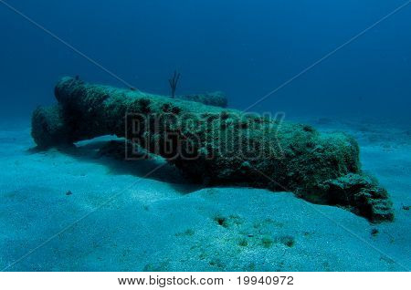 Cannons on the sea floor.