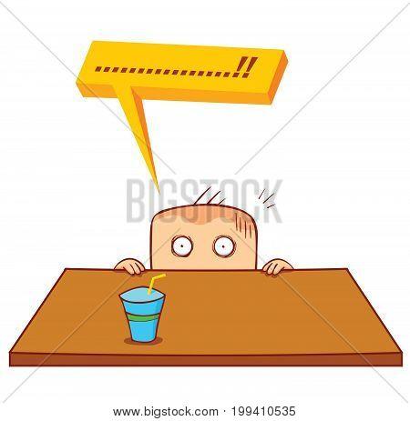 illustration of a man hiding under table