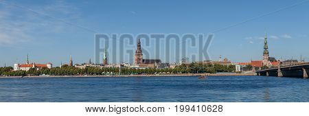Old Riga summer day penoramic view with Daugava river