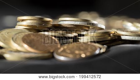 Metal coins as a background. Macro. a photo