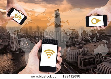 Man Hand Using Smartphone Searching Data Everything By Wifi On Top View Cityscape In Bangkok, Thaila