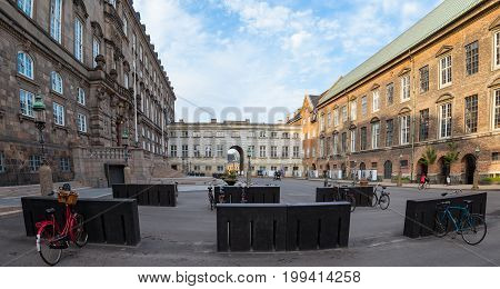 Yard of Christiansborg Castle houses the Danish Parliament and the Royal Stables. Bike parking.