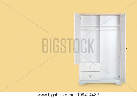 Entry Open White Wardrobe Isolated On Yellow Background With Space For Copy.