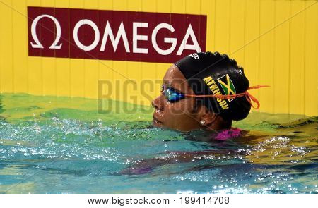 Hong Kong China - Oct 30 2016. Jamaican swimmer and olympian Alia Atkinson after the Women's Butterfly 50m Preliminary Heat. FINA Swimming World Cup Victoria Park Swimming Pool.