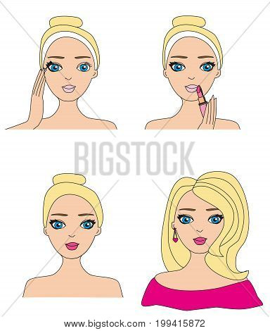 Make-up girl set on white background , vector illustration