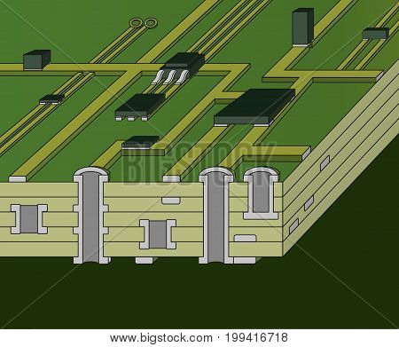 Cross-section of green motherboard. 3D vector illustration.
