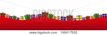 Many different gift packets on curved hillsides.
