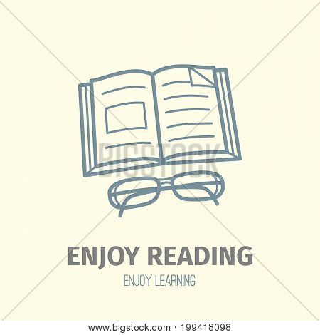 Thin lined book icon. Vector isolated on white outlined signs of opened book in front and top view.
