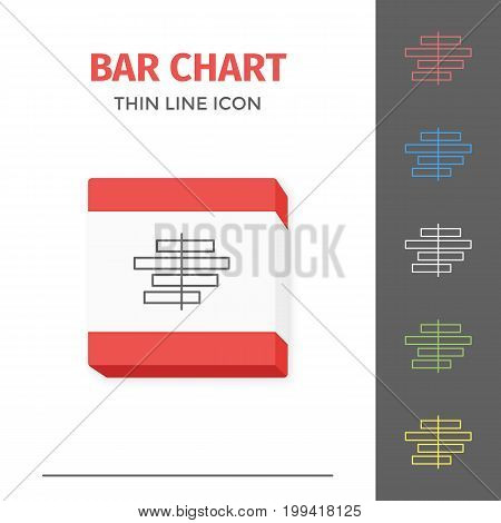 Simple thin line stroked chart or graph vector isolated icon.