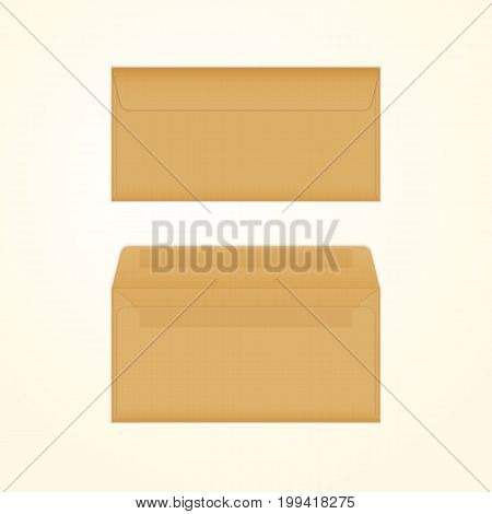 Vector opened and closed brown envelopes. Isolated mockup template of brown recycled paper envelope for business letter, advertisement, invitation cards or money.