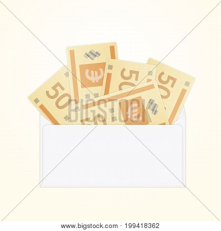Vector opened white envelope with cash euro money banknotes. Isolated white paper envelope with cash euros.