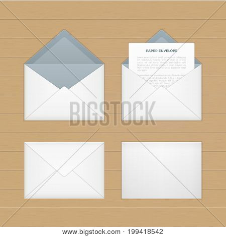 Vector opened paper envelop with letter on wood table. Realistic icon of paper envelope with letter page on wood desk. Template for business letter, advertisement, invitation cards or money.