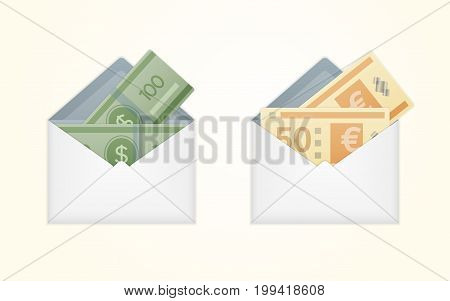 Vector opened white envelope with cash dollar and euro money banknotes. Isolated white paper envelope with cash dollars and euros.