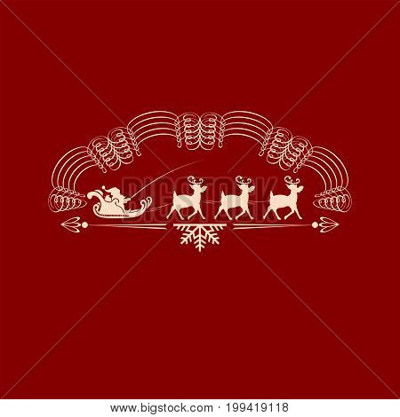 Christmas emblem with a snowflake and with Santa Claus in a cart with deer