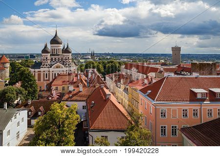 Tallinn view of old town castle with Orthodox Cathedral on Toompea hill