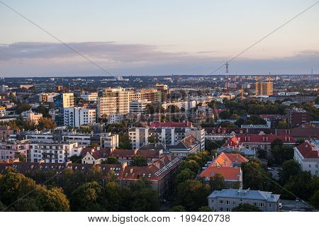 TALLINN, ESTONIA - 22 JUL 2016: Amazing aerial shot of modern business district at sunset