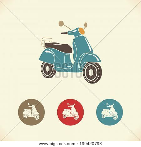 Scooter motorbike retro icons. Italian style. Vector Illustration